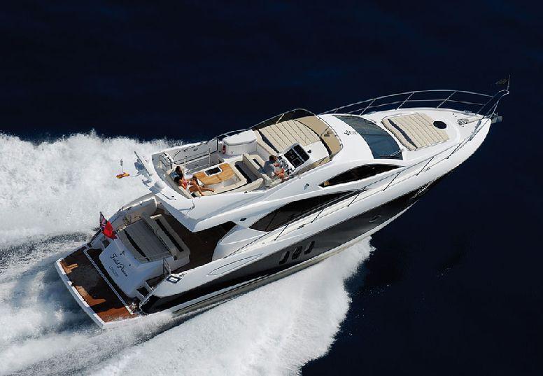 Below decks, the Sunseeker Superhawk 43 yacht also offers a spacious saloon, ...