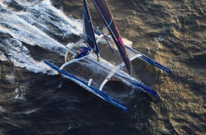 The Maxi Banque Populaire V trimaran takes possession of the Jules Verne Trophy