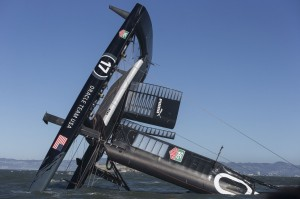 ORACLE TEAM USA capsize in AC72 on San Francisco Bay