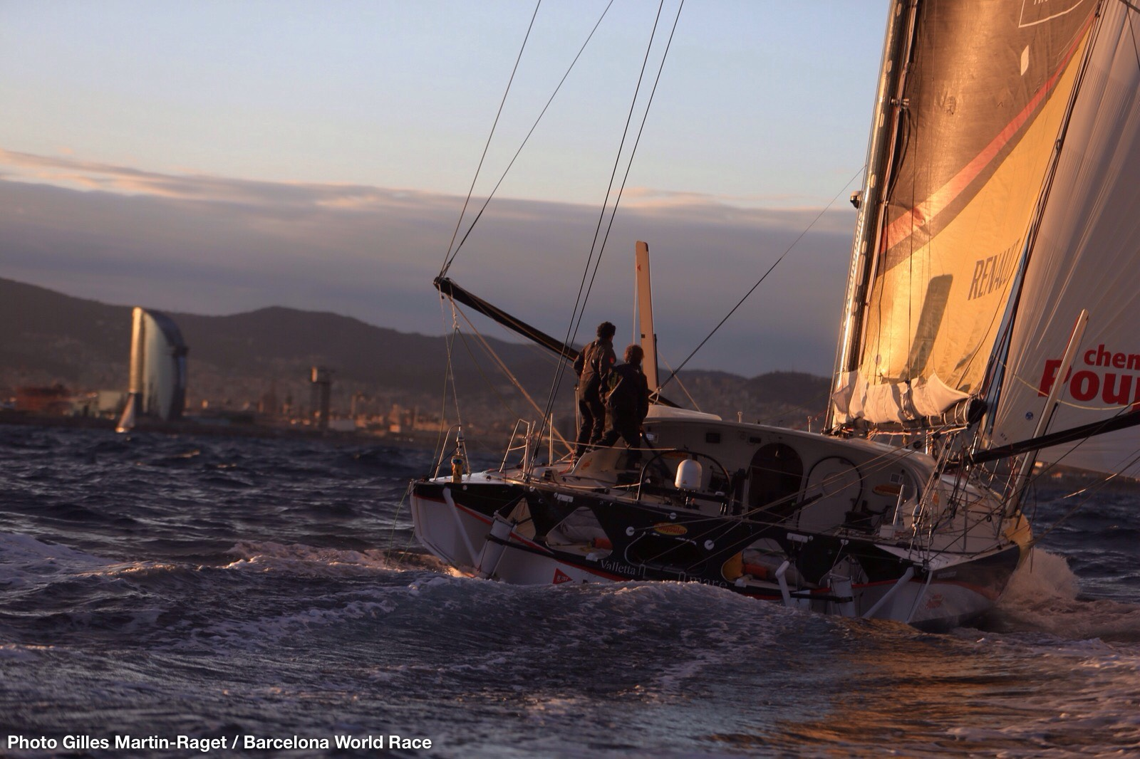 Bernard Stamm and Jean Le Cam are winners of the Barcelona World Race 2014-2015 on board Cheminées Poujoulat