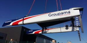 The launch of Groupama Team's Class AC Test (AC45 Turbo) at Multiplast
